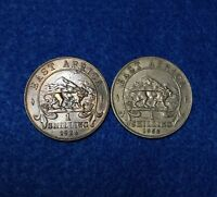 1924 & 1952 EAST AFRICA 1 SHILLING   2 COINS / 1 IS SILVER   NICE ALL ORIGINAL