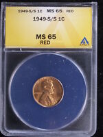 1949-S/S 1C LINCOLN ANACS MINT STATE 65 RED