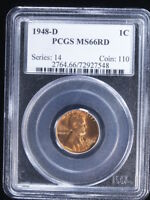 1948-D 1C RD LINCOLN CENT 3 PCGS MINT STATE 66RD
