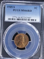 1949-S 1C RD LINCOLN CENT 1 PCGS MINT STATE 66RD