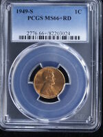 1949-S 1C RD LINCOLN CENT PCGS MINT STATE 66RD