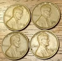 1930 1930D 1934D 1935S LINCOLN WHEAT CENT PENNY  GOOD TO  FINE