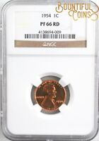1954 NGC PF 66 RD LINCOLN CENT 1C ONE PENNY PROOF PR RED L20