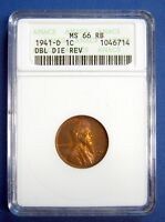 1941-D LINCOLN CENT. ANACS CERTIFIED  MINT STATE 66 RB. DOUBLED DIE REVERSE.