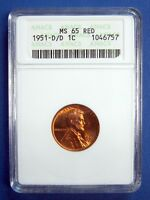 1951-D/D LINCOLN CENT. ANACS CERTIFIED  MINT STATE 65 RED. D OVER D MINTMARK.