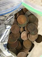 1910-1919 P-D-S BAG OF WHEAT CENT'S ALL TEENS CULLS 10 ROLLS 500 COINS