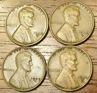 1938D 1938S 1939D 1939S LINCOLN WHEAT CENT PENNY  FINE TO AU