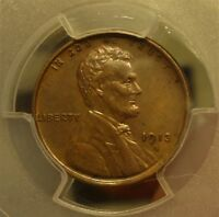 1913-S  PCGS  AU 58  LINCOLN WHEAT CENT,  BROWN, SOME RED,  LISTED AT $185.00
