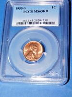 1955-S 1C RD LINCOLN CENT-PCGS MINT STATE 65RD--207-10