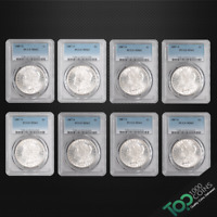 LOT OF 8 1887-S $1 MORGAN DOLLARS - ALL PCGS MINT STATE 62 UNC  7180.62.8