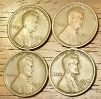 1916S 1917D 1918D 1919D LINCOLN WHEAT CENT PENNY GOOD TO FINE