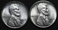 LOT OF 2 UNCIRCULATED STEEL CENTS - 1943 P & 1943 S 1C