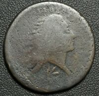 1793 FLOWING HAIR WREATH CENT - R LETTERED EDGE VARIETY