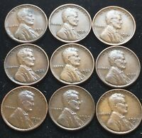 CIRCULATED LOT OF 9 EARLY LINCOLN WHEAT CENTS. 1920-S, 1927-S, 1928-D MORE