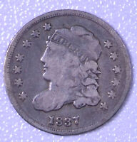 1837 H10C CAPPED BUST HALF DIME LARGE 5 - VG