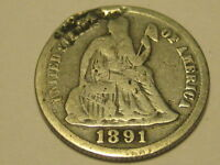 1891-S SEATED LIBERTY DIME DAMAGE