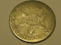1857 TY II THREE CENT SILVER PIECE BOLD SHIELD & STAR LINES