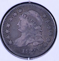 1821 10C CAPPED BUST DIME LARGE DATE - F