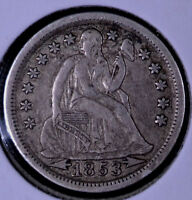 1853 10C SEATED LIBERTY DIME ARROWS - EF