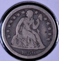 1859-O 10C SEATED LIBERTY DIME - F