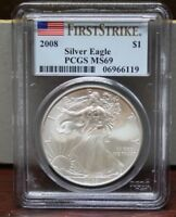 2008 SILVER EAGLE $1 PCGS MINT STATE 69 FIRST STRIKE SPOTTED