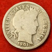1901-P BARBER / LIBERTY HEAD DIME G COLLECTOR COIN GIFT CHECK OUT STORE BD239