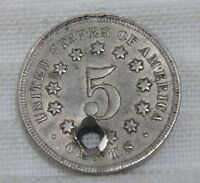 1868 SHIELD NICKEL ABOUT UNCIRCULATED AU DETAILS HOLE HOLED NO RAYS REVERSE 1867