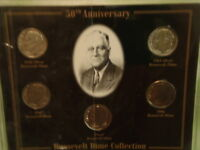 50TH ANNIVERSARY ROOSEVELT DIME COLLECTION IN HARD PLASTIC HOLDER 5 DIME SET C5
