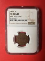 1865 TWO CENT COIN NGC AU DETAILS