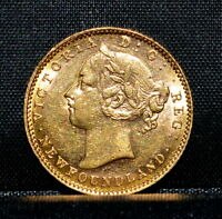 NEWFOUNDLAND 1882 $2 GOLD PIECE  UNC DETAILS  CLEANED CANADA 100P TRUSTED