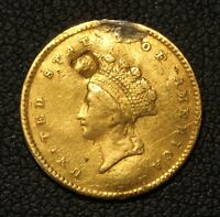 1854 TYPE 2 GOLD INDIAN PRINCESS ONE DOLLAR COIN   R TYPE TWO   DAMAGE