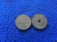 LOT OF USED 2 OCCUPIED BELGIAN COINS  1942 CIRCULATED UNGRADED
