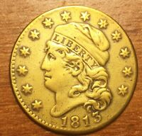 1813 CAPPED BUST CLASSIC GOLD $5 HALF EAGLE. VERY SCARCE  SU