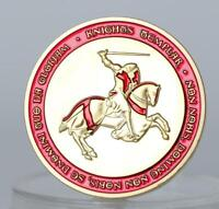 NEW TEMPLAR KNIGHT BADGE EASTERN CRUSADE RED GOLD PLATED COMMEMORATIVE COIN