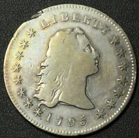 Click now to see the BUY IT NOW Price! 1795 FLOWING HAIR SILVER DOLLAR   TWO FEATHER VARIETY