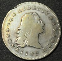 1795 FLOWING HAIR SILVER DOLLAR - TWO FEATHER VARIETY