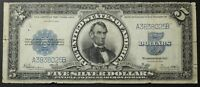 1923 $5 FIVE DOLLAR PORTHOLE SILVER CERTIFICATE NOTE
