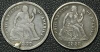 LOVE TOKENS   1877 & 1888 SEATED LIBERTY SILVER DIMES