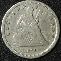 1861 SEATED LIBERTY SILVER QUARTER   CLEANED