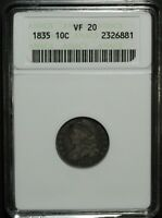 1835 CAPPED BUST SILVER DIME ANACS VF 20