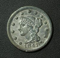 1847 BRAIDED HAIR COPPER LARGE CENT