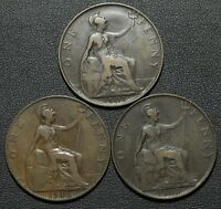 LOT OF 3 COINS 1900   1906   1907 GREAT BRITAIN ONE PENNY LOT