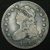 1818 CAPPED BUST SILVER QUARTER   CLEANED