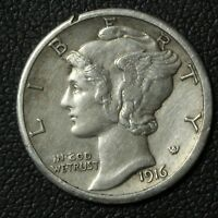 1916 S MERCURY SILVER DIME   CLEANED