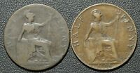 LOT OF 2 COINS 1900 & 1908 GREAT BRITAIN HALF PENNY COINS