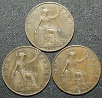 LOT OF 3 1917 GREAT BRITAIN ONE PENNY COINS