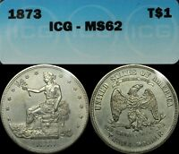1873 TRADE SILVER DOLLAR ICG MS 62   GORGEOUS   UNCIRCULATED