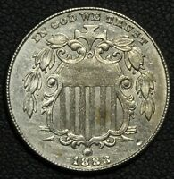 1883/2 FS 303 SHIELD NICKEL   BEAUTIFUL LUSTROUS COIN    OVERDATE