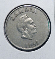 ZAMBIA 10 NGWEE 1968  AFRICA COIN VF