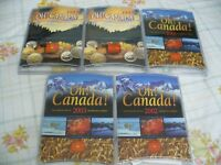 LOT OF 5 SETS 1999 2000 2001 2002 2003  OH   CANADA  COIN SETS   DOLLAR TOONIE